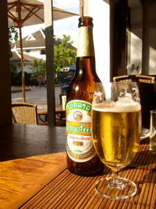 A bottle of Beer Lao in the sunshine