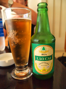 A bottle glass of Lao Cai beer