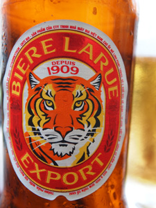 A close-up of the Bierre Larue Export label