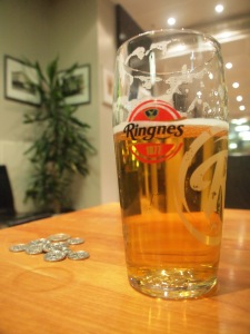 A pint of Ringnes beer