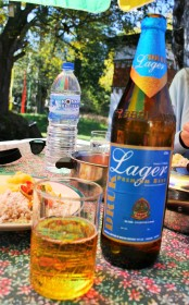 A bottle of Druk Lager - for once the beer was worse than the food