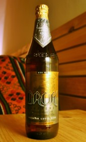 A bottle of Druk Supreme, getting ready for bed